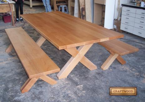 Wood table tops and restaurant furniture.
